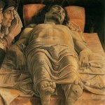 Andrea Mantegna (Isola di Cartura, about 1430/31 - Mantua, 1506)  The Lamentation over the Dead Christ  Tempera on canvas, c.1490  26 3/4 x 31 7/8 inches (68 x 81 cm)  Pinacoteca di Brera, Milan, Italy